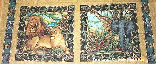 African Elephant Lion Fabric 4 Panels