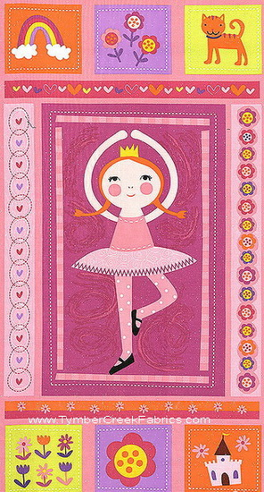 Ballerina Princess Little Girls Panel