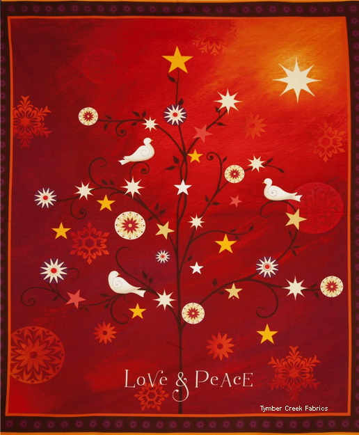 Love & Peace Dove Stars Fabric Panel