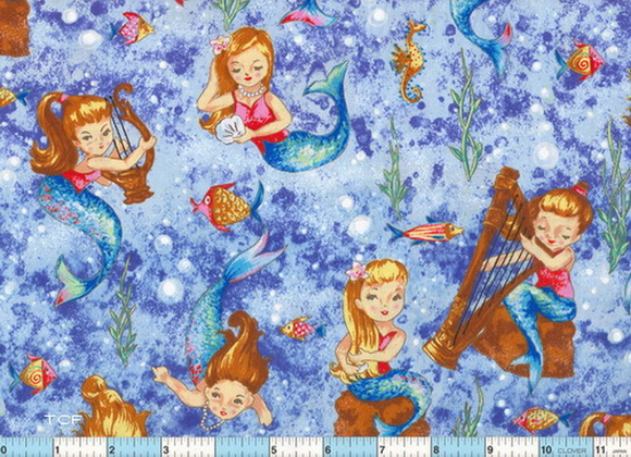 Mermaid Plays Lyre-Harp Cotton Fabric