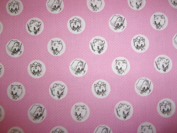 Missy Kitty Faces Pink Fabric 2yd23""