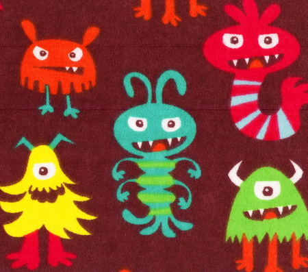 "Monsters Mania Wild Things Brown 2yds14"" Flannel"