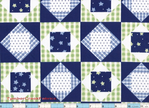 Blue Navy Green Diamond Quilt Blocks Fabric