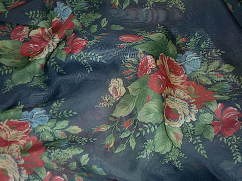 Roses Navy Sheer Home Decor