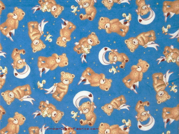 Night Night Sweet Baby Bears Ducky Med-Blue Flannel Fabric