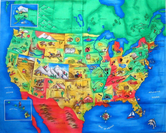 North American Map Fabric Panel <font color=&quot;red&quot;>SALE