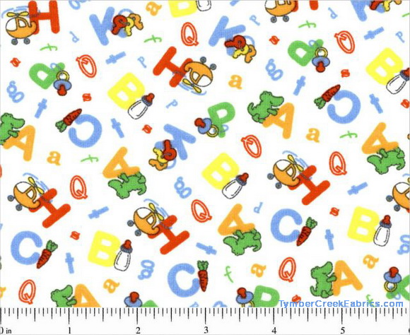 Nursery Time ABCs Toys Fabric <font color=Red> SALE