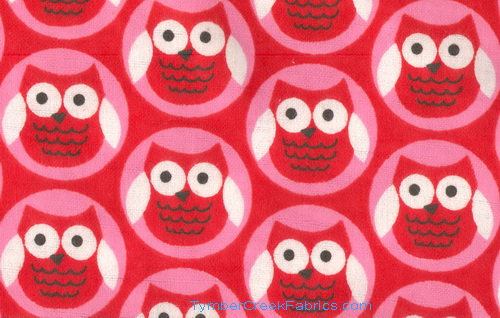 Bright Owls Red Pink Flannel