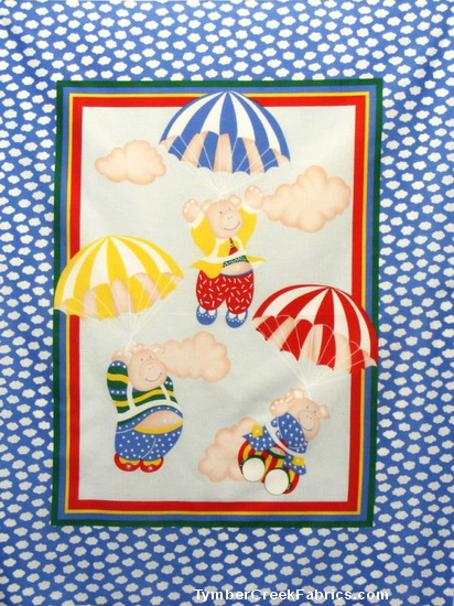 Flying Pigs Parachutes Quilt/Wall Fabric   Panel