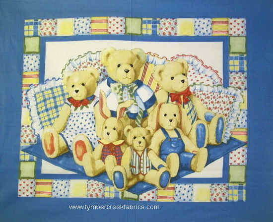 Pillowbean Bear Family Quilt Fabric Panel