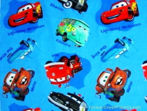 "Disney Pixar Cars Blue Lightning McQueen 1yd24"" Fabric"