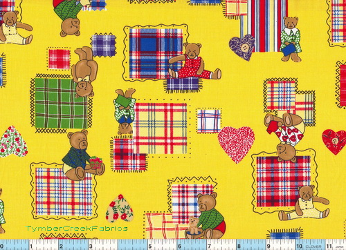 Playtime Tumble Bears Plaids  Yellow Fabric