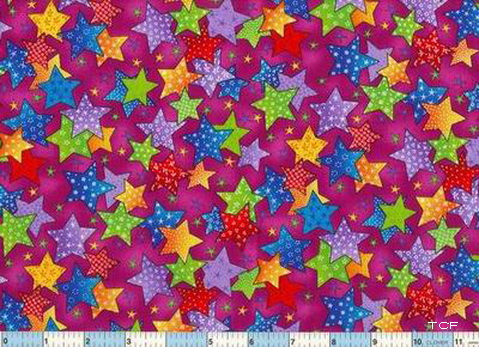 Stars Gold Blue Red Green - Plum Field