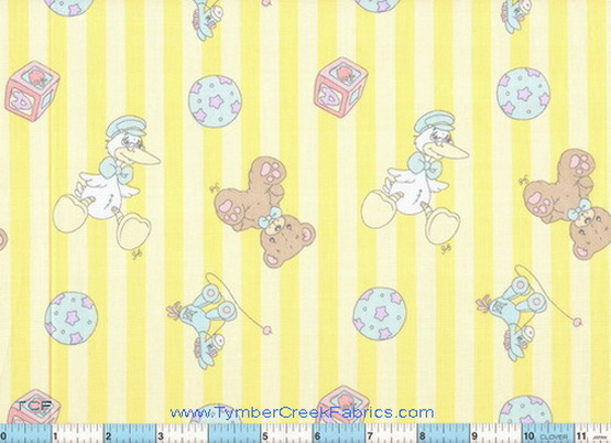 "Precious Moments Yellow Stripe 1yd31"" Fabric"