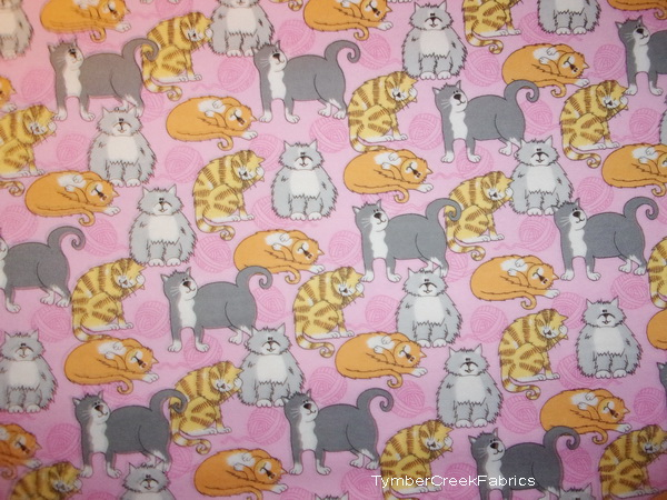 Puffy Cats Kitties Pink Flannel Fabric