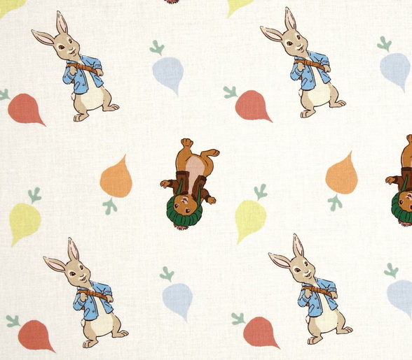 Peter Rabbits & Radishes Toss Fabric