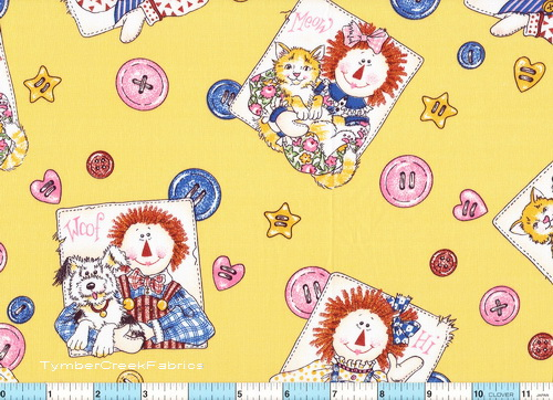 Raggedy Andy Pets Patches Yellow 2 yds 15""