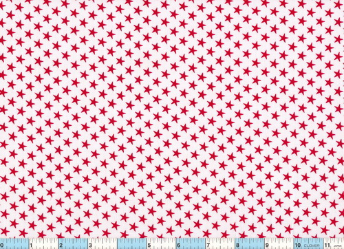 Red Stars White Quilt Cotton