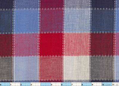 Red Blue White Homespun Plaid