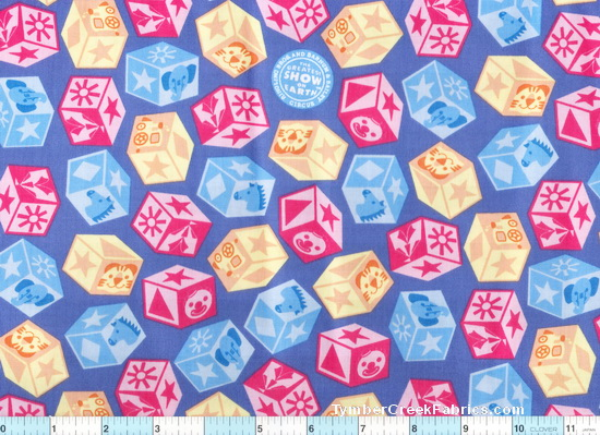 Ringling Bros Circus Blue Blocks Fabric
