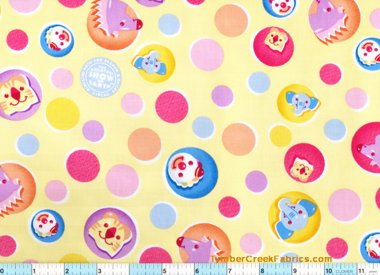 Ringling Bros Circus Clown Circles Fabric