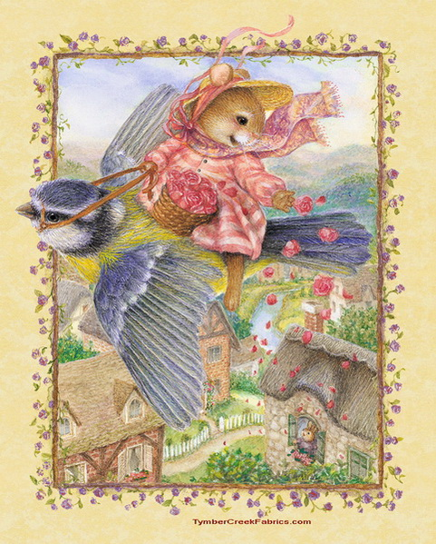 Charming Romantic Flight Fabric Panel