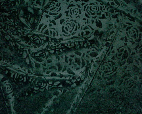 Embossed Roses Green Velour/Velvet Fabric