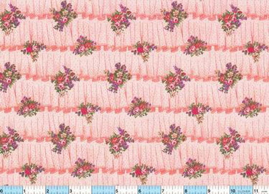 Faux Ruffles Coral Flower Bouquet Fabric