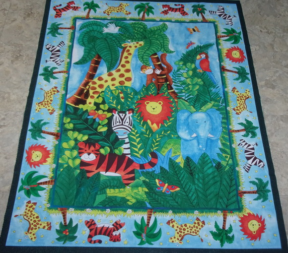 Safari Jungle Zebra Monkey Quilt Panel