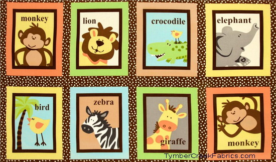 Safari Tots Animal Blocks Fabric Panel