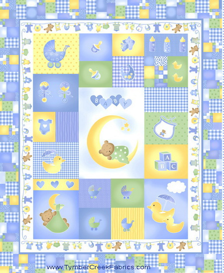 Sleepy Time Baby Hearts Calico Blue Fabric Quilt Panel
