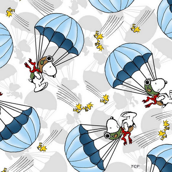 Snoopy Flying Ace Snoopy Parachute Toss Blue Fabric