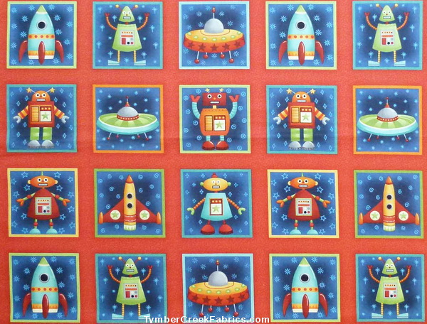 Space Aliens Rockets Blocks Fabric<font color=Red> SALE