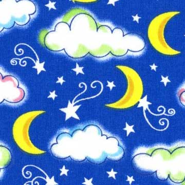 Starry Night Clouds Moons Glitter Royal Fabric