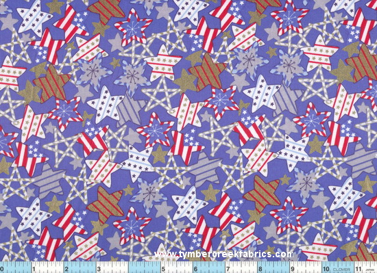 Candy Cane Gold Silver Stars Blue