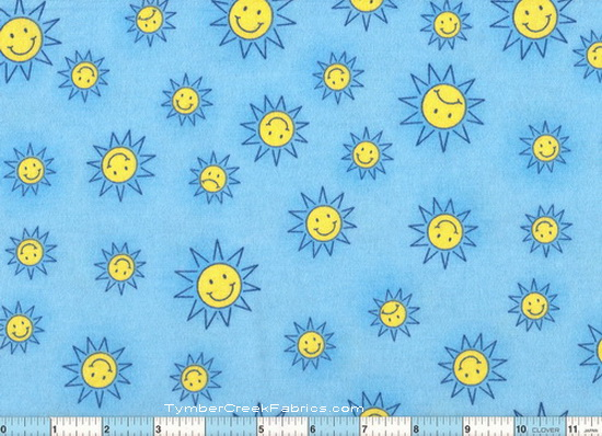 "Smiley Suns 1yd 30"" + 26"" Flannel"