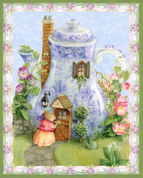 Miss Mouse Tea House Quilt Fabric Panel