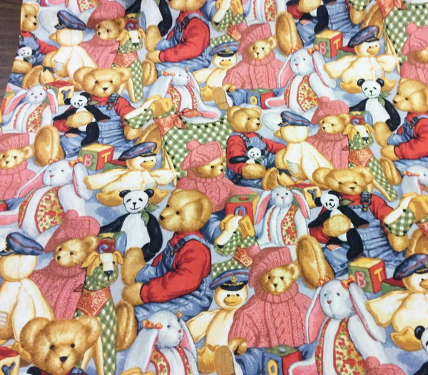 "Blue Jean Teddy Toy Allover"" Daisy Kingdom Fabric"