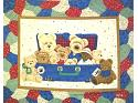 Everyday Suitcase Bears Quilt Fabric Panel