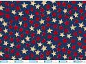 Country Stars Red White on Navy Fabric