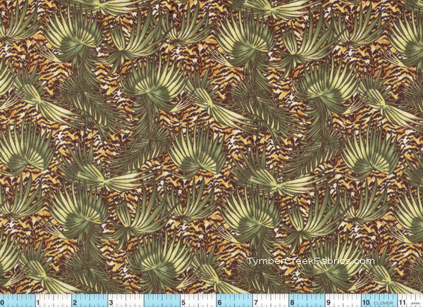 Safari Tropical Leaves  Tiger Emerald