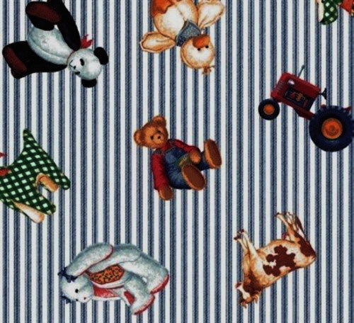 Tractor Teddy Ticking Stripe Fabric