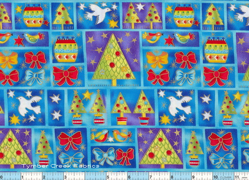 Holiday Doves Gold Blue Fabric