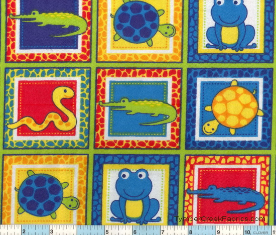 Turtles Frogs Gators Blocks Flannel