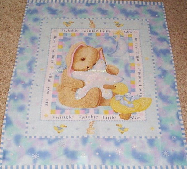Twinkle Twinkle Little Bunny Star Fabric Panel