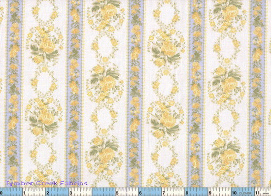 Vintage Nursery Baby Floral Blue Yellow Stripe