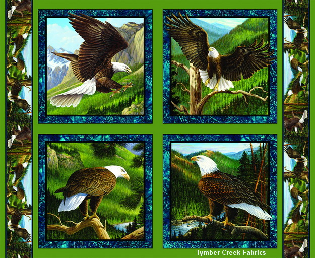 Wild Wings Flying High Eagles Fabric Pillow Panel