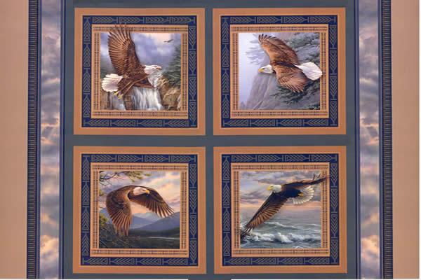 Wings of Glory Eagle 4 Pillow Panels