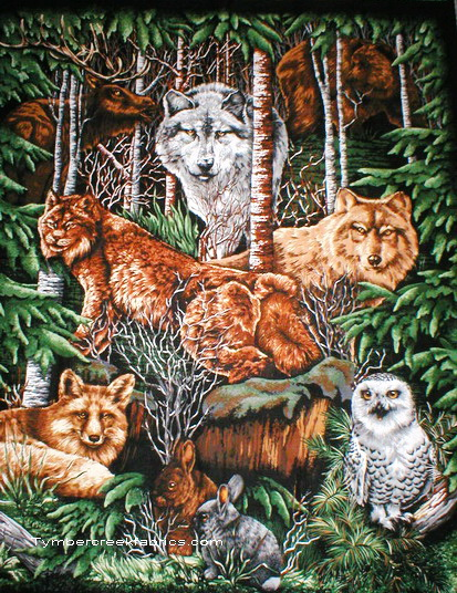Wood Haven Wolf Owl Wall Fabric Panel