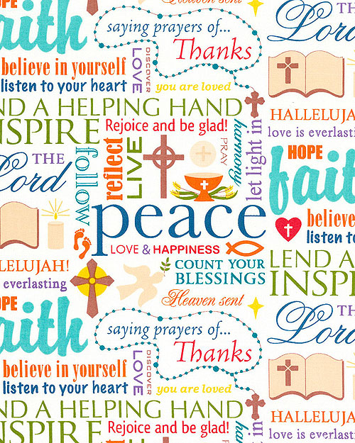 Words of Faith Peace Rejoice Love Fabric